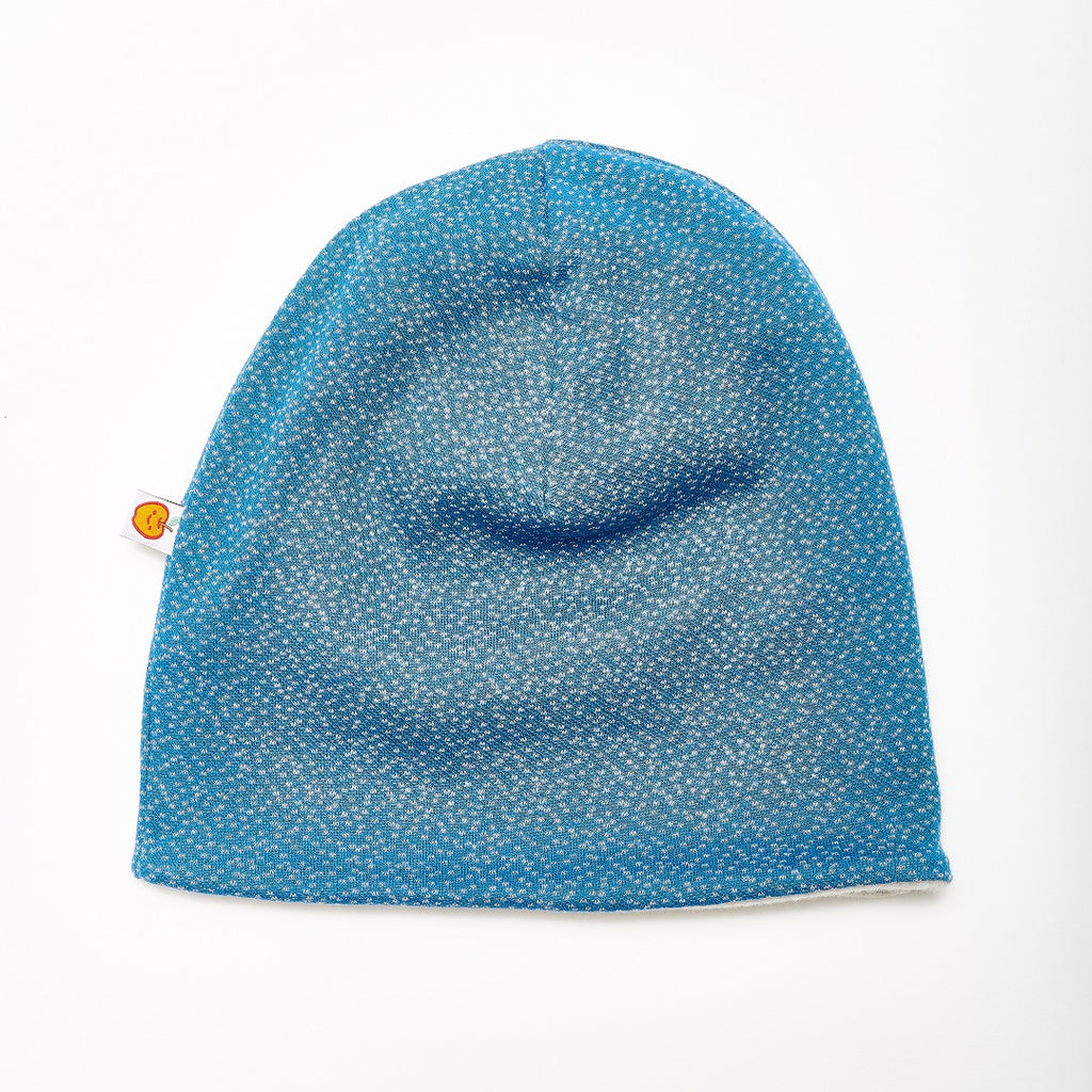 "Beanie ""Dotties Blue/Fleece Grey"" - Cheeky Apple"
