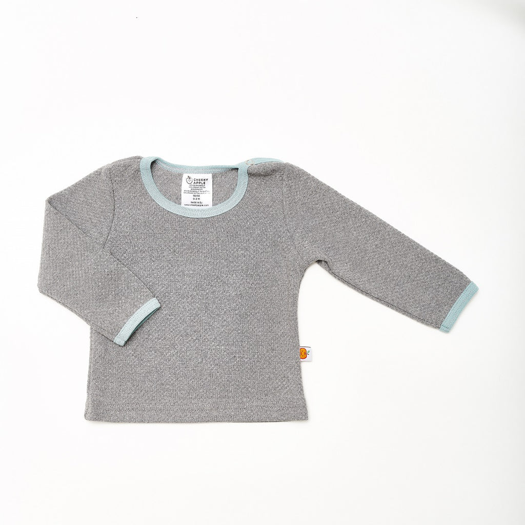 "Long sleeve baby top ""Interlock Doubleface Grey/Stone Blue"""
