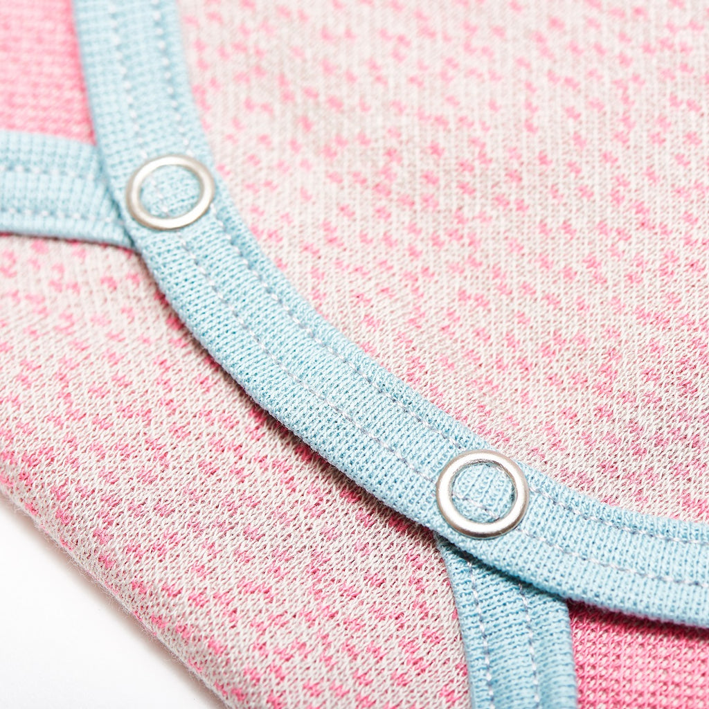"Long-sleeve baby body ""Dotties Pink/Stone Blue"""