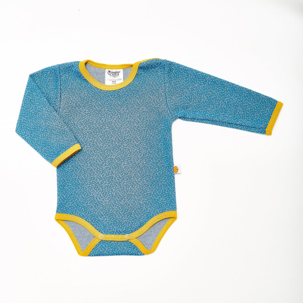 "Long-sleeve baby body ""Dotties Blue/Mustard"""