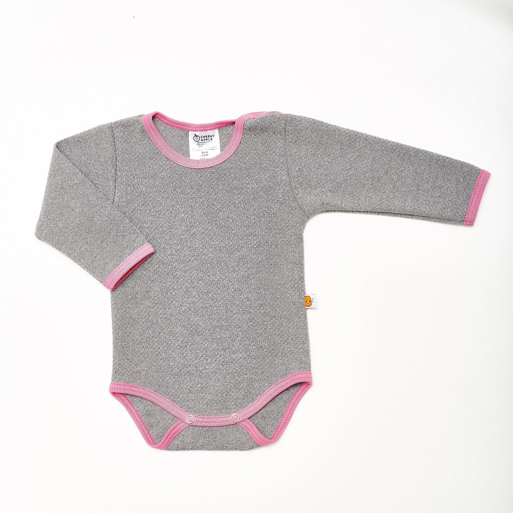 "Long-sleeve baby body ""Doubleface Grey/Pink"""