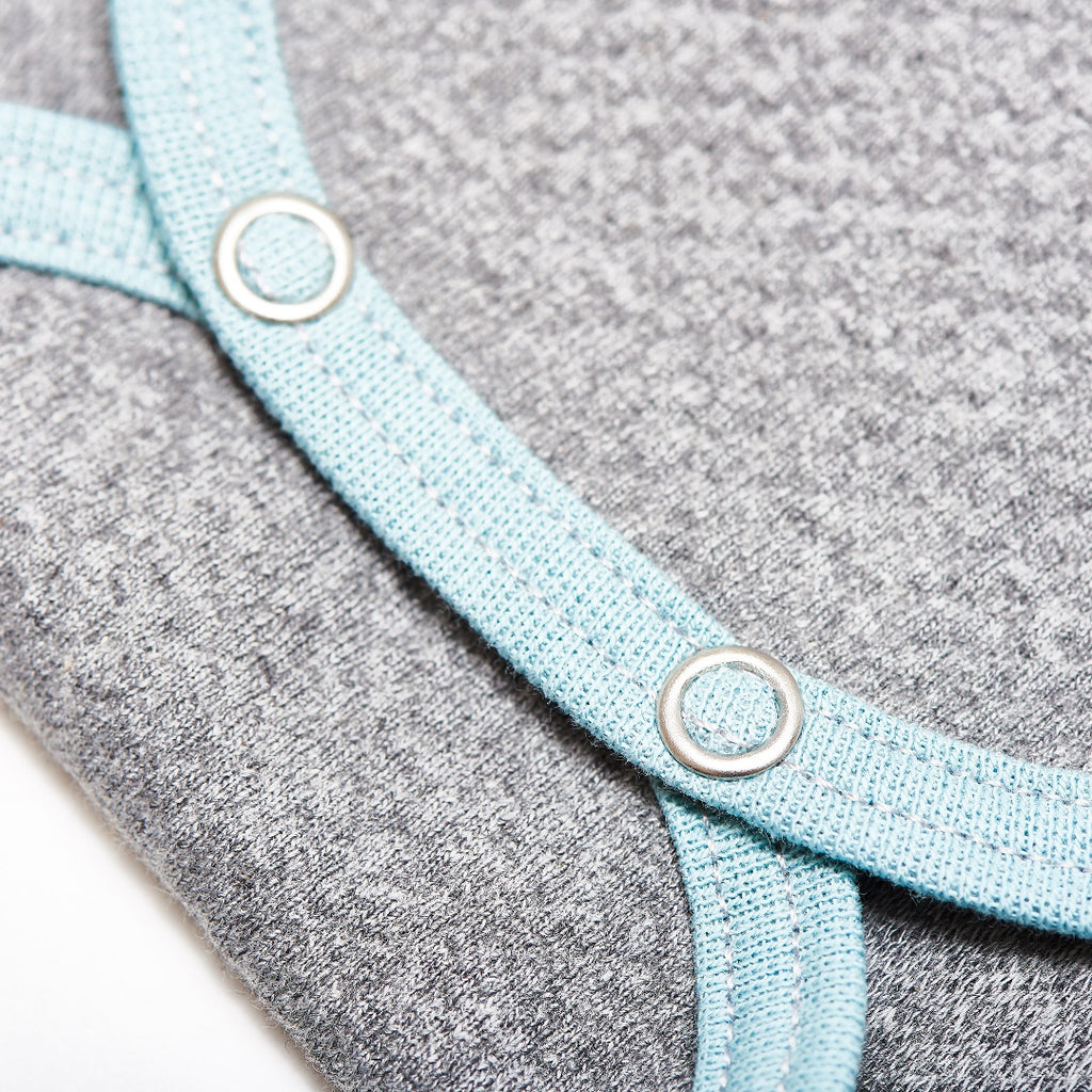 "Long-sleeve baby body ""Doubleface Grey/Stone blue"""