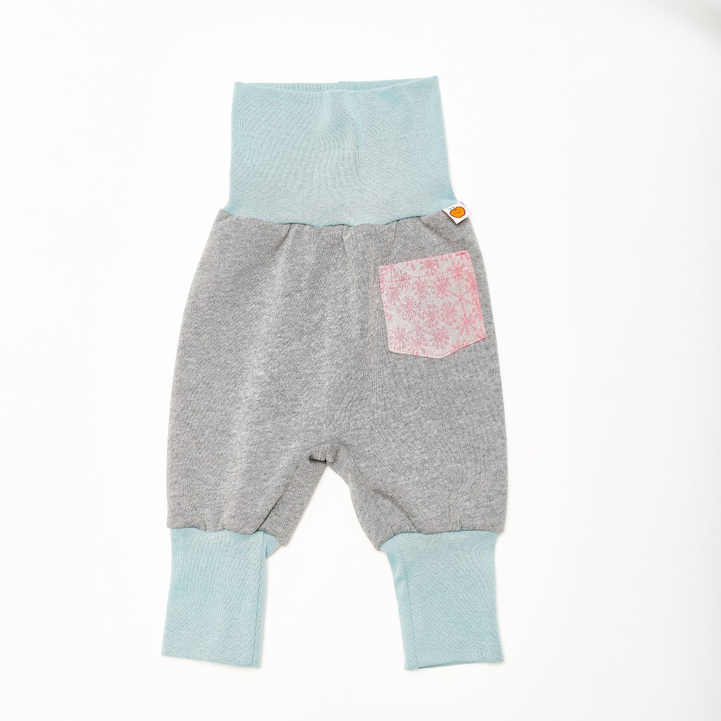 "Baby sweat pants with pockets ""Sweat Grey/Dandelion Pink"" - Cheeky Apple"