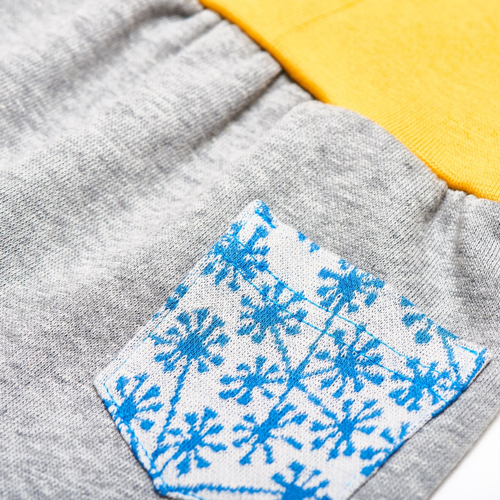 "Baby sweat pants with pockets ""Sweat Grey/Dandelion Blue"" - Cheeky Apple"