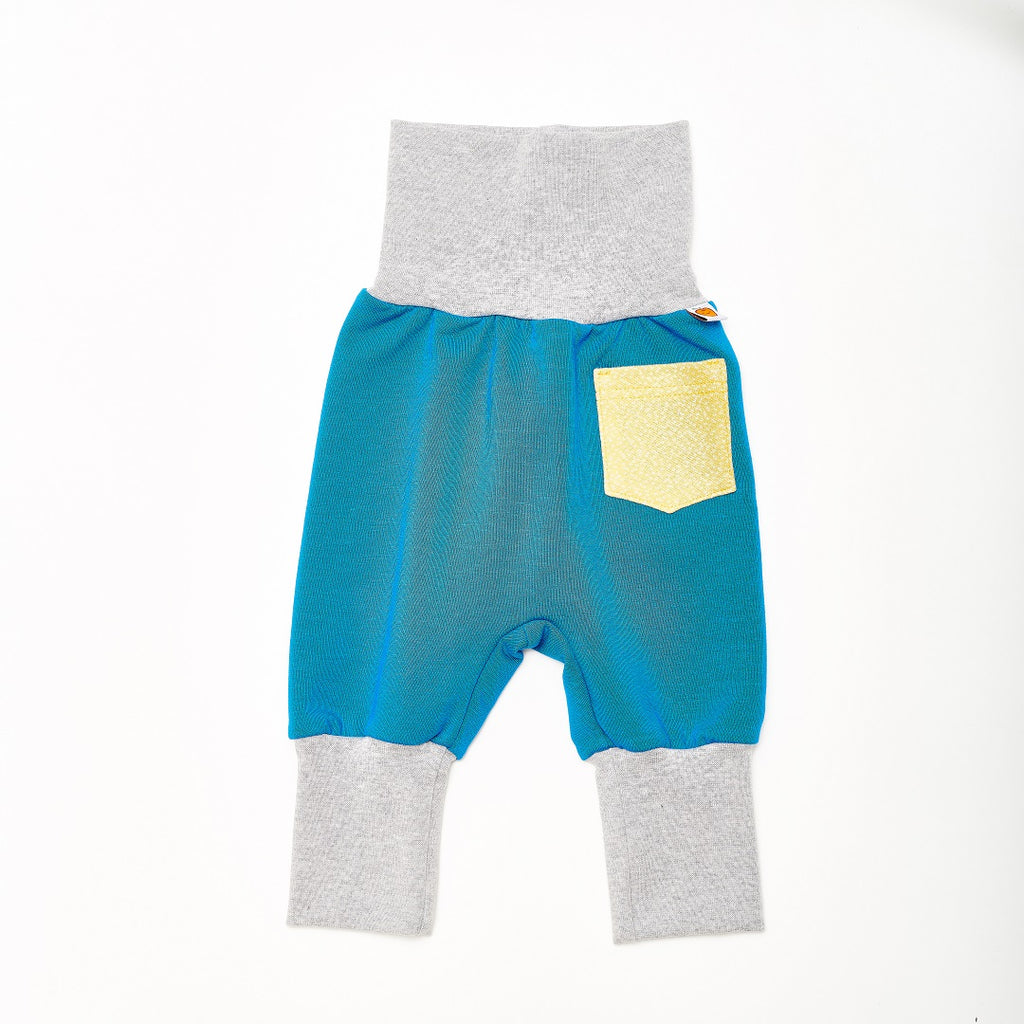 "Baby Sweat pants with pockets ""Sweat Blue/Dotties Bamboo"" - Cheeky Apple"