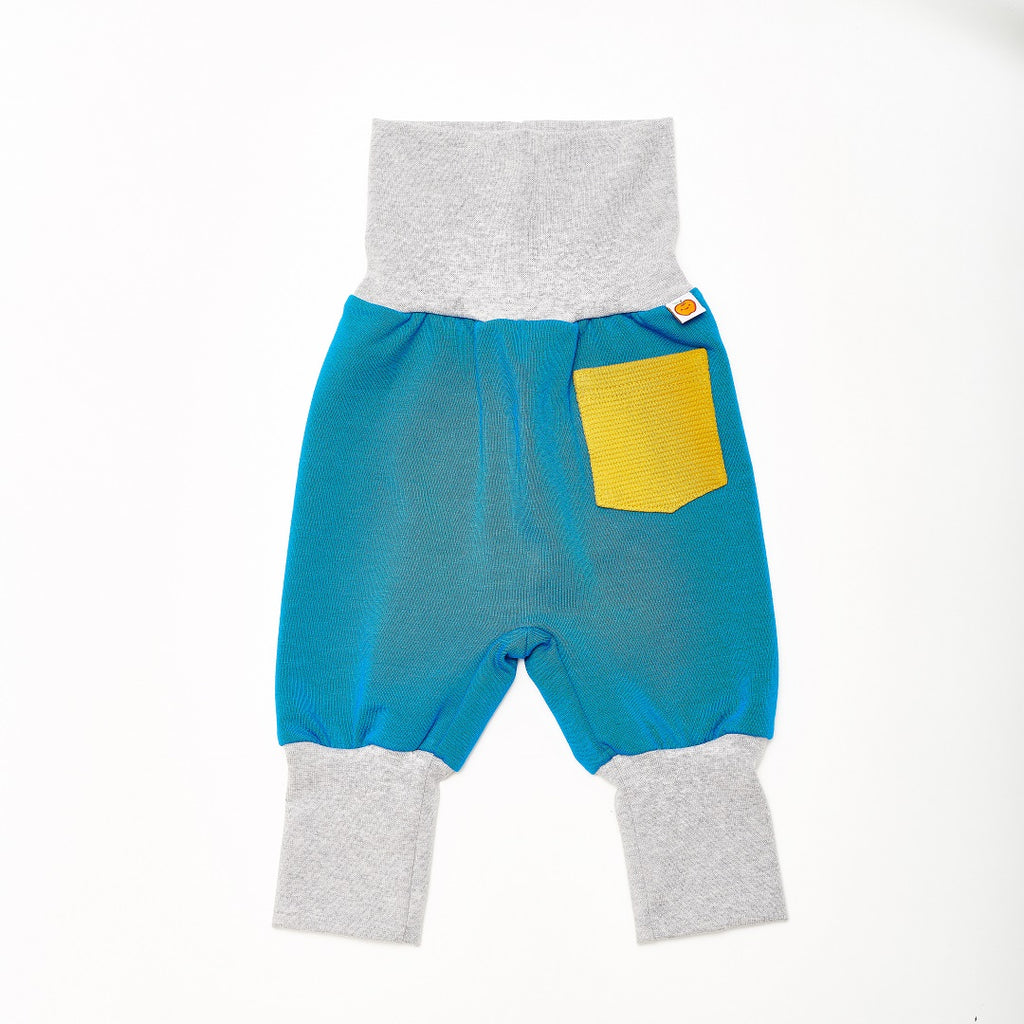 "Baby Sweat pants with pockets ""Sweat Blue/Rib Mustard"""