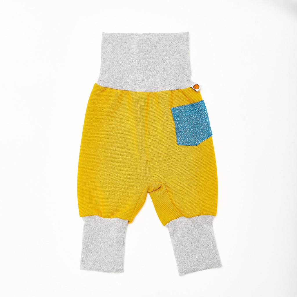 "Baby pants with pockets ""Rib Mustard/Dotties Blue"""