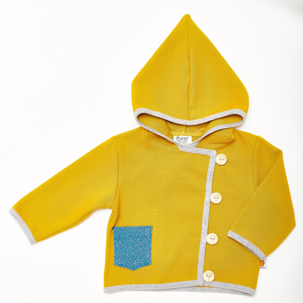"Baby Hoodie Jacket ""Rib Mustard/Dotties Blue"" - Cheeky Apple"