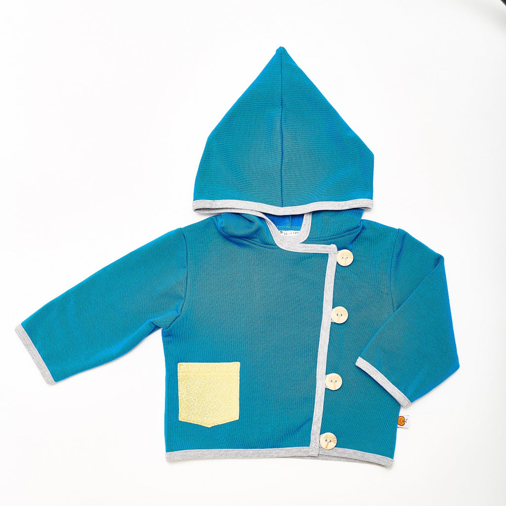 "Baby Hoodie Jacket ""Sweat Blue/Dotties Bamboo"" - Cheeky Apple"