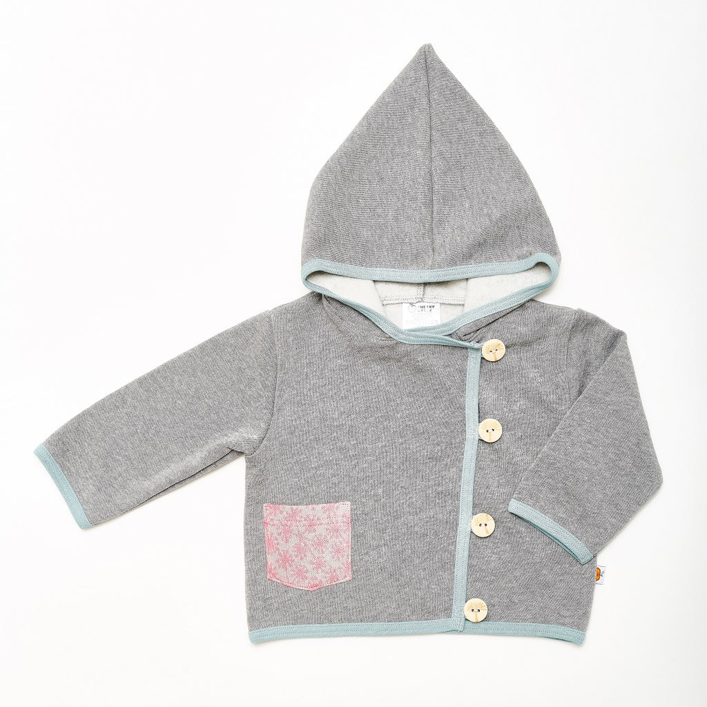 "Baby Hoodie Jacket ""Sweat Grey/Dandelion Pink"" - Cheeky Apple"