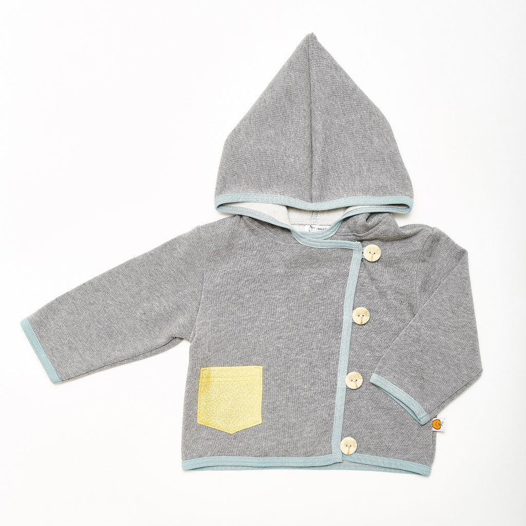 "Baby Hoodie Jacket ""Sweat Grey/Dotties Bamboo"" - Cheeky Apple"
