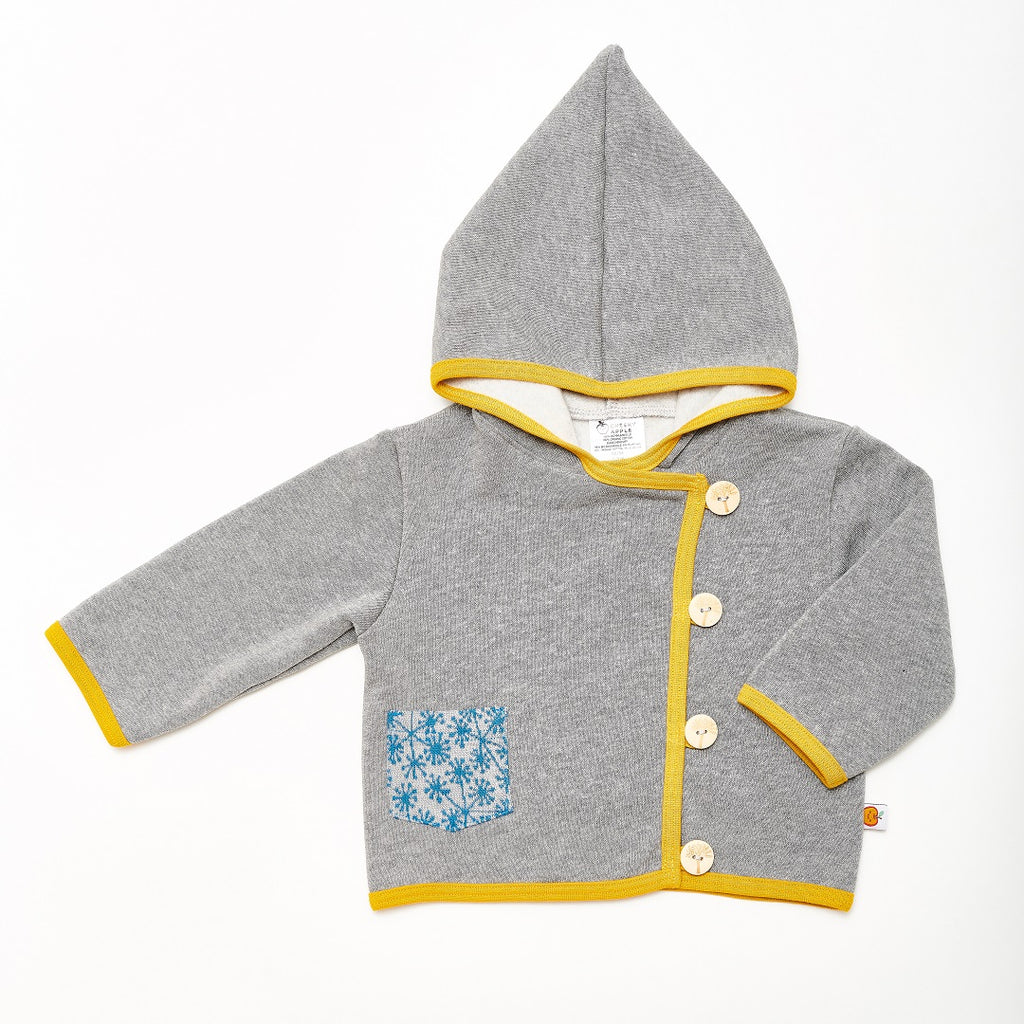 "Baby Hoodie Jacket ""Sweat Grey/Dandelion Blue"" - Cheeky Apple"