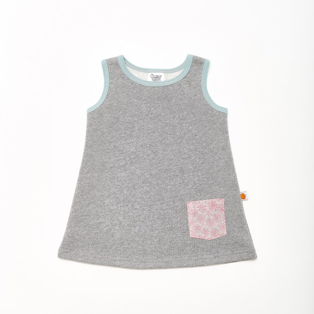 "Sleeveless sweat dress ""Sweat Grey/Dandelion Pink"""