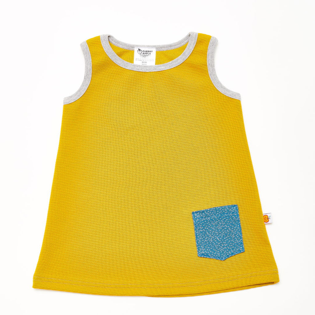 "Sleeveless dress ""Rib Mustard/Dotties Blue"""