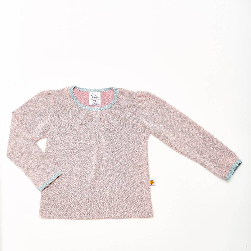 "Girl`s Long-sleeve top ""Dotties Pink/Stone Blue"" - Cheeky Apple"