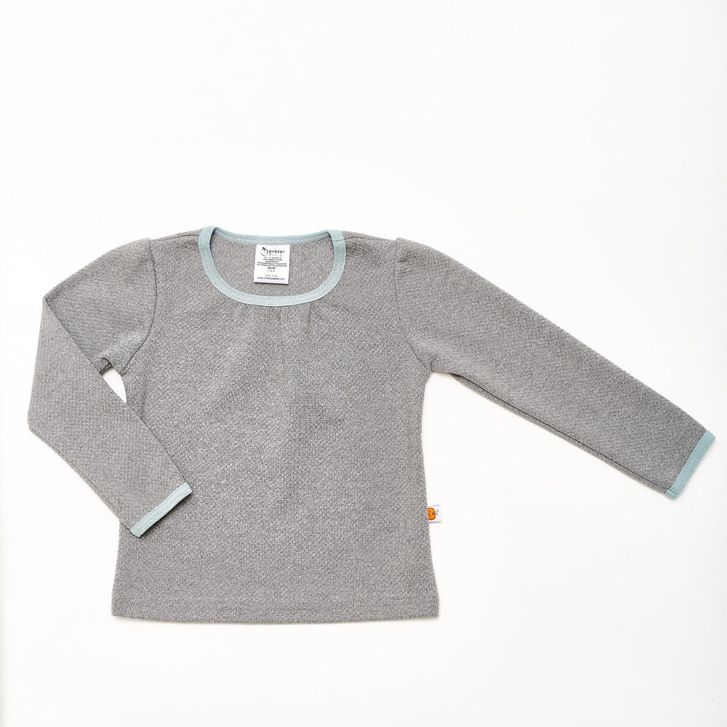 "Girl`s Long-sleeve top ""Interlock Doubleface Grey/Stone Blue"" - Cheeky Apple"
