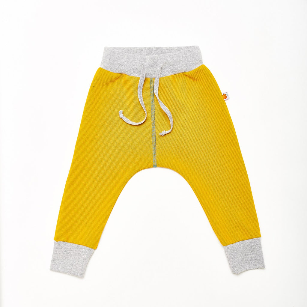"Boy`s Sweatpants ""Rib Mustard/Dotties Blue"" - Cheeky Apple"