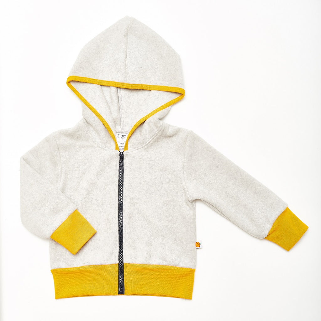 "Fleece Jacket ""Fleece Grey/Mustard"" - Cheeky Apple"