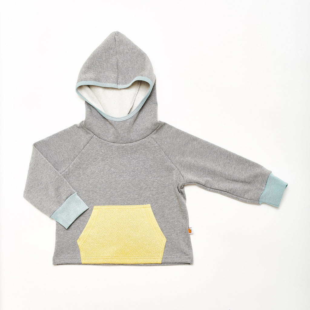"Hooded Jumper ""Sweat Grey/Dotties Bamboo"" - Cheeky Apple"