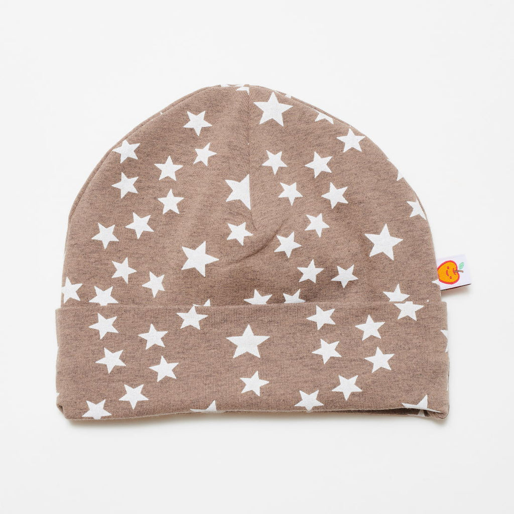 "Lined baby hat ""Stars taupe/Brown-white stripes"""