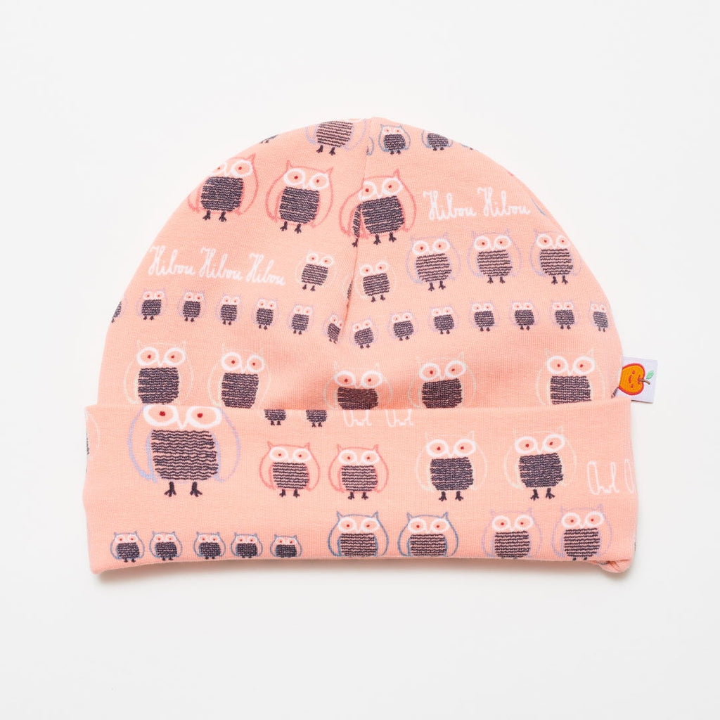 "Lined baby hat ""Sweat family owl pink/Grey"""