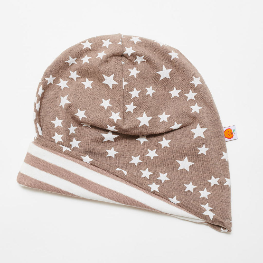 "Beanie ""Stars taupe/Brown-white stripes"""