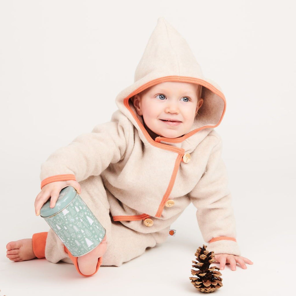 "Fleece baby jacket ""Fleece Nude Marl/Apricot"""