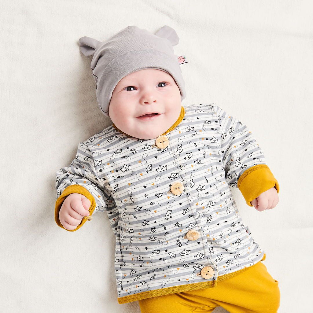 "Organic lined baby jacket ""My little golden Ship"" made from 96% organic cotton and 4% elastane"