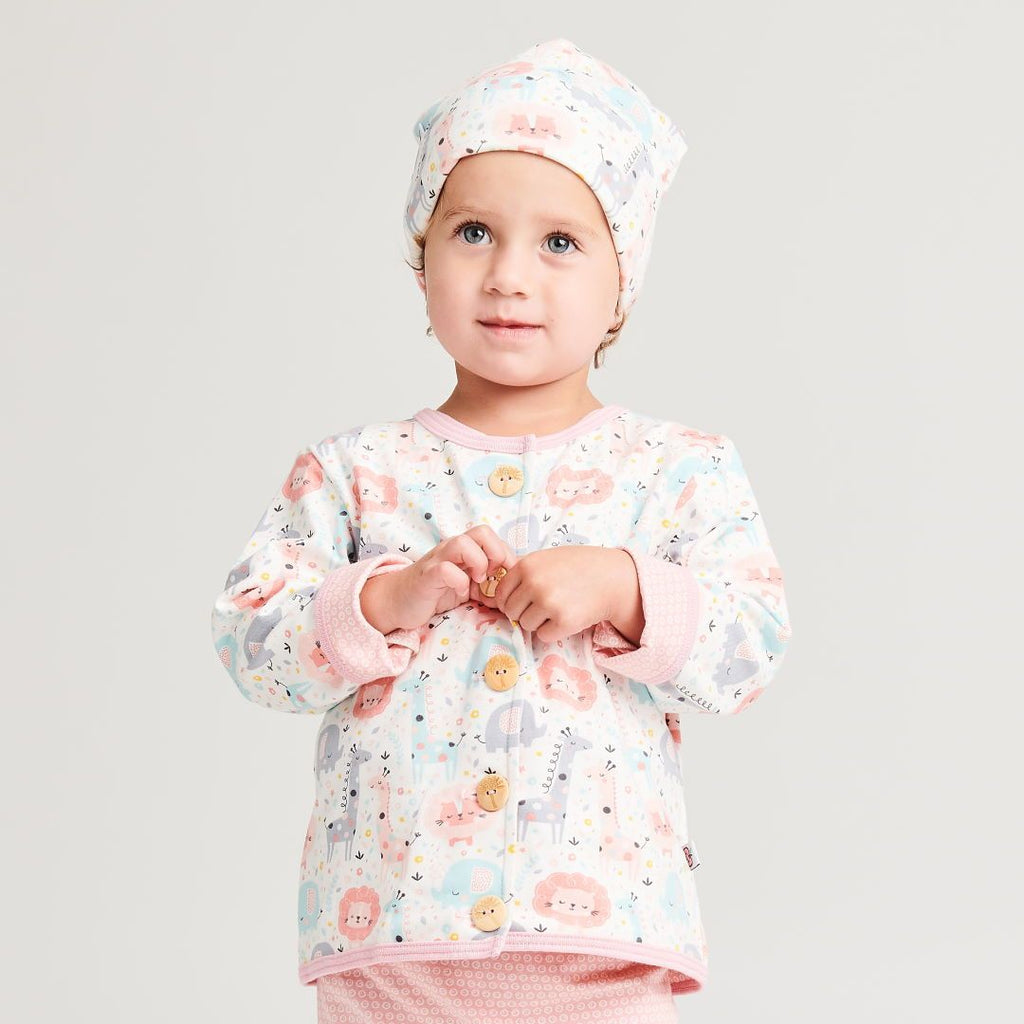 "Organic lined baby jacket ""Mini Jungle Rose"" made from 95% organic cotton and 5% elastane"