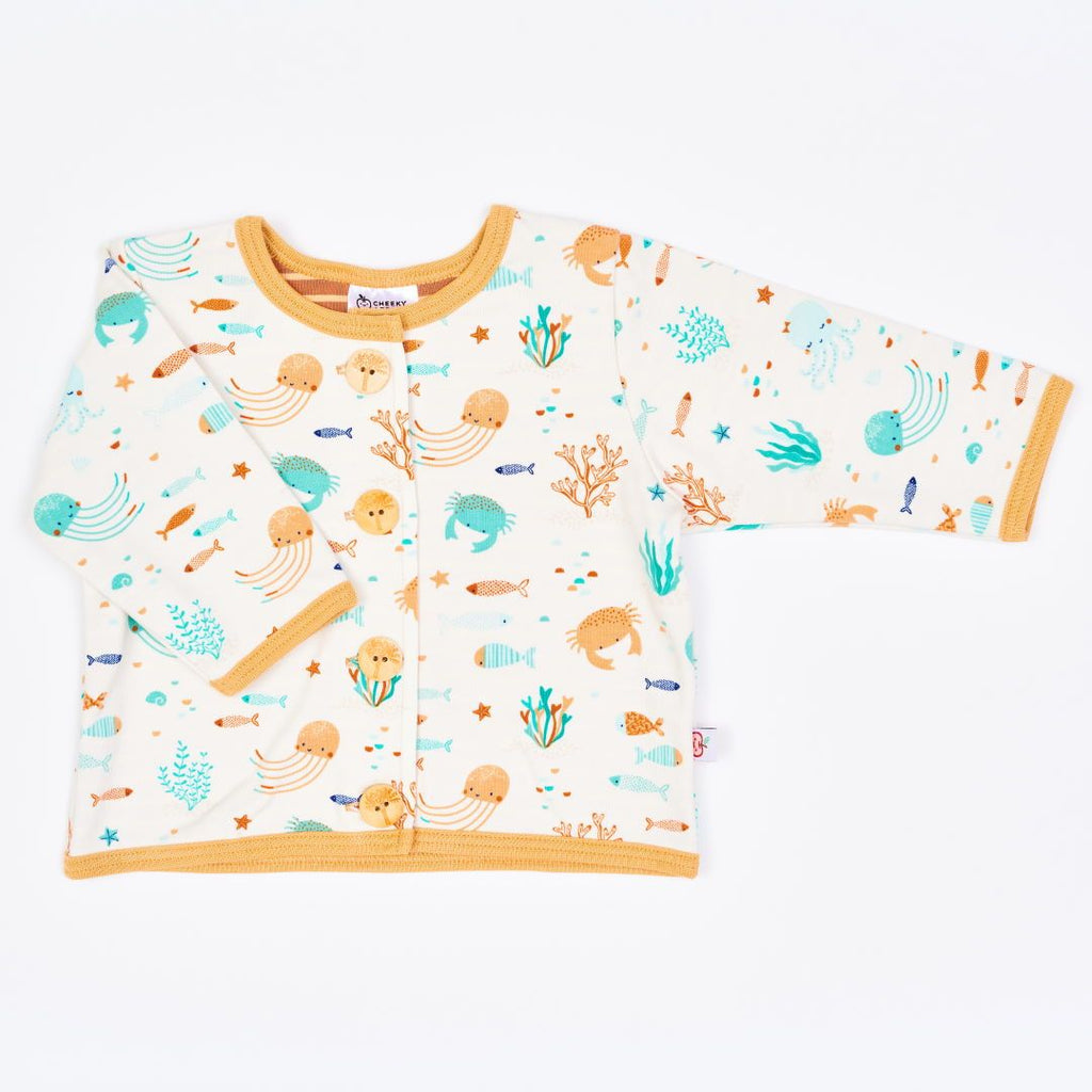 "Organic lined baby jacket ""Ocean Party"" made from 95% organic cotton and 5% elastane"