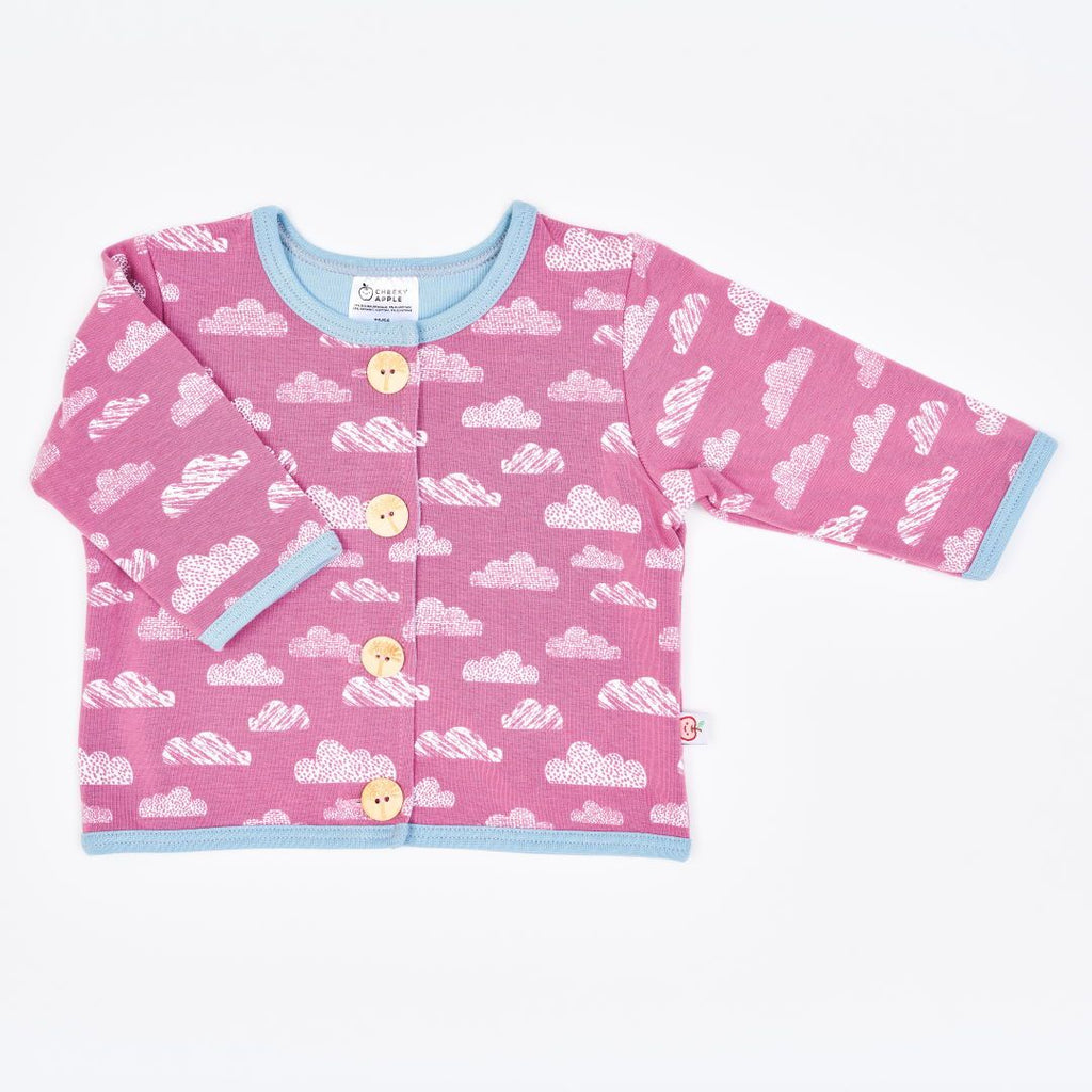 "Organic lined baby jacket ""Clouds Vintage Rose"" made from 96% organic cotton and 4% elastane"