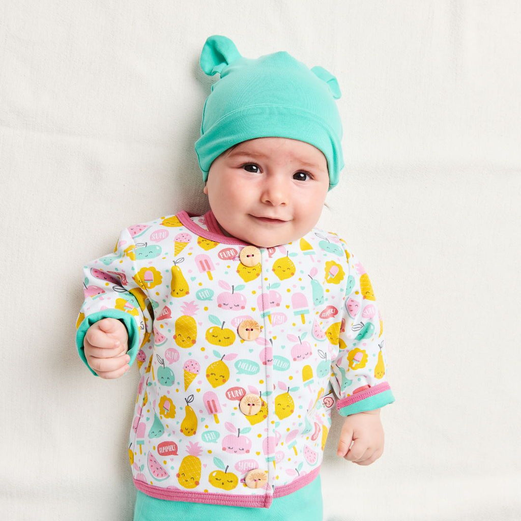 "Organic lined baby jacket ""Yummy"" made from 96% organic cotton and 4% elastane"