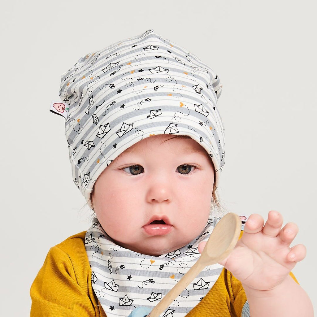 "Organic lined baby hat ""My little golden Ship"" made from 95% organic cotton and 5% elastane"