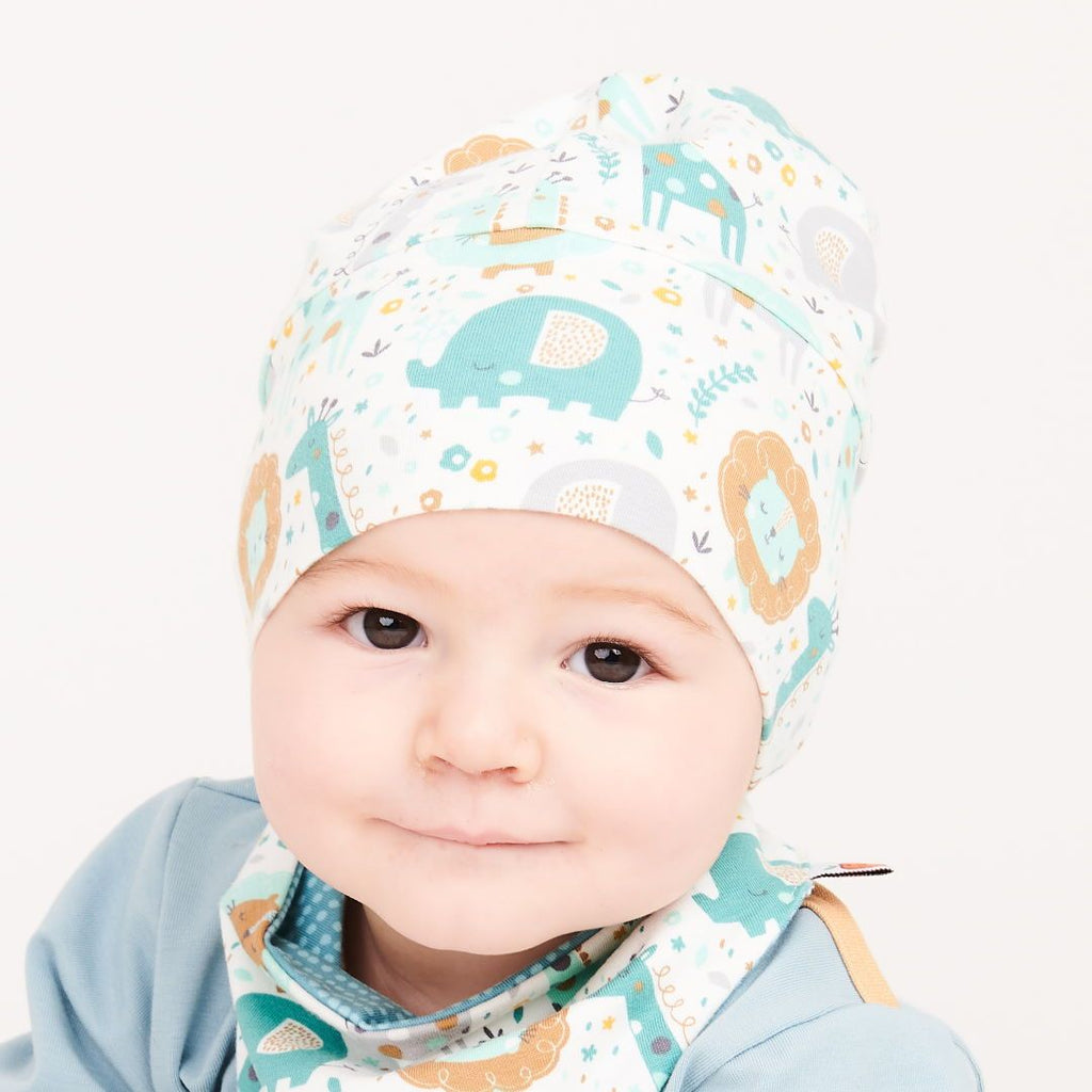 "Lined baby hat ""Mini Jungle/Dotted Lines Turquoise"""
