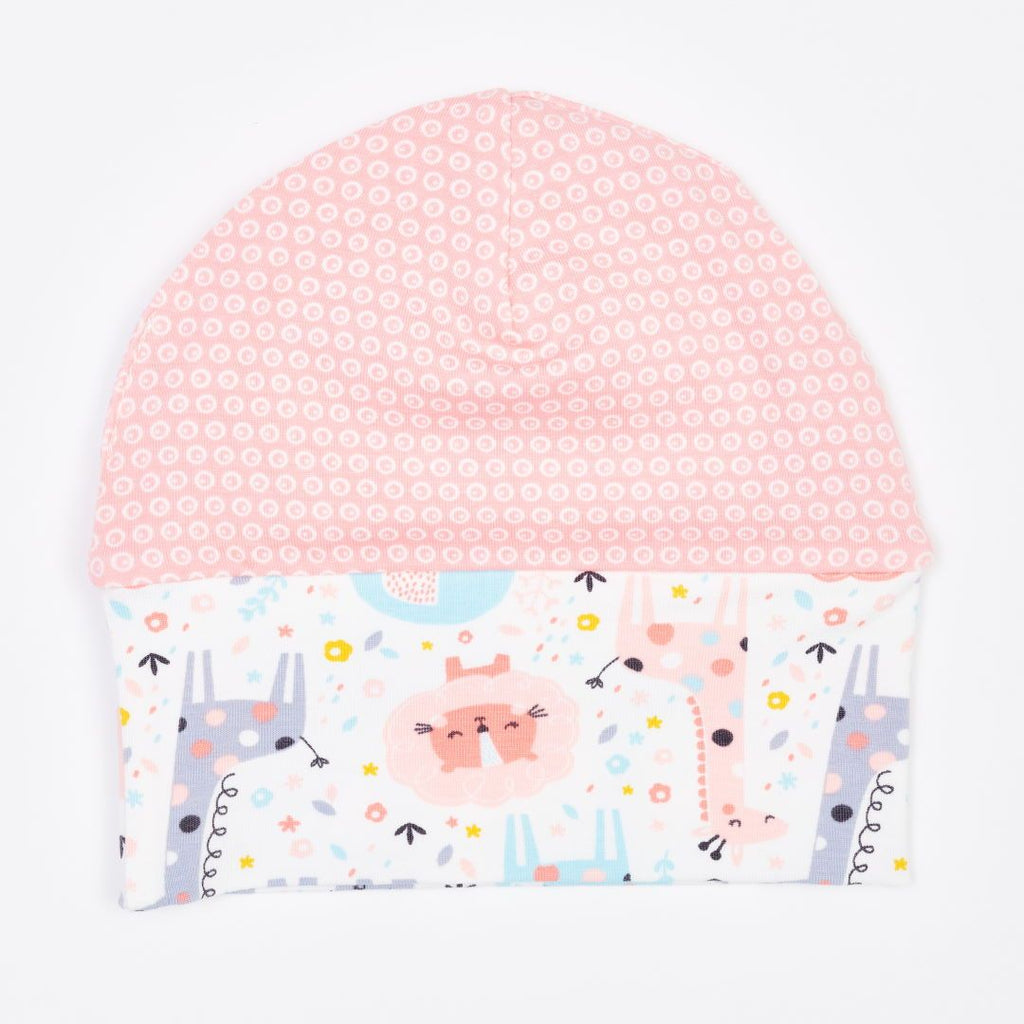 "Organic lined baby hat ""Mini Jungle Rose"" made from 95% organic cotton and 5% elastane"