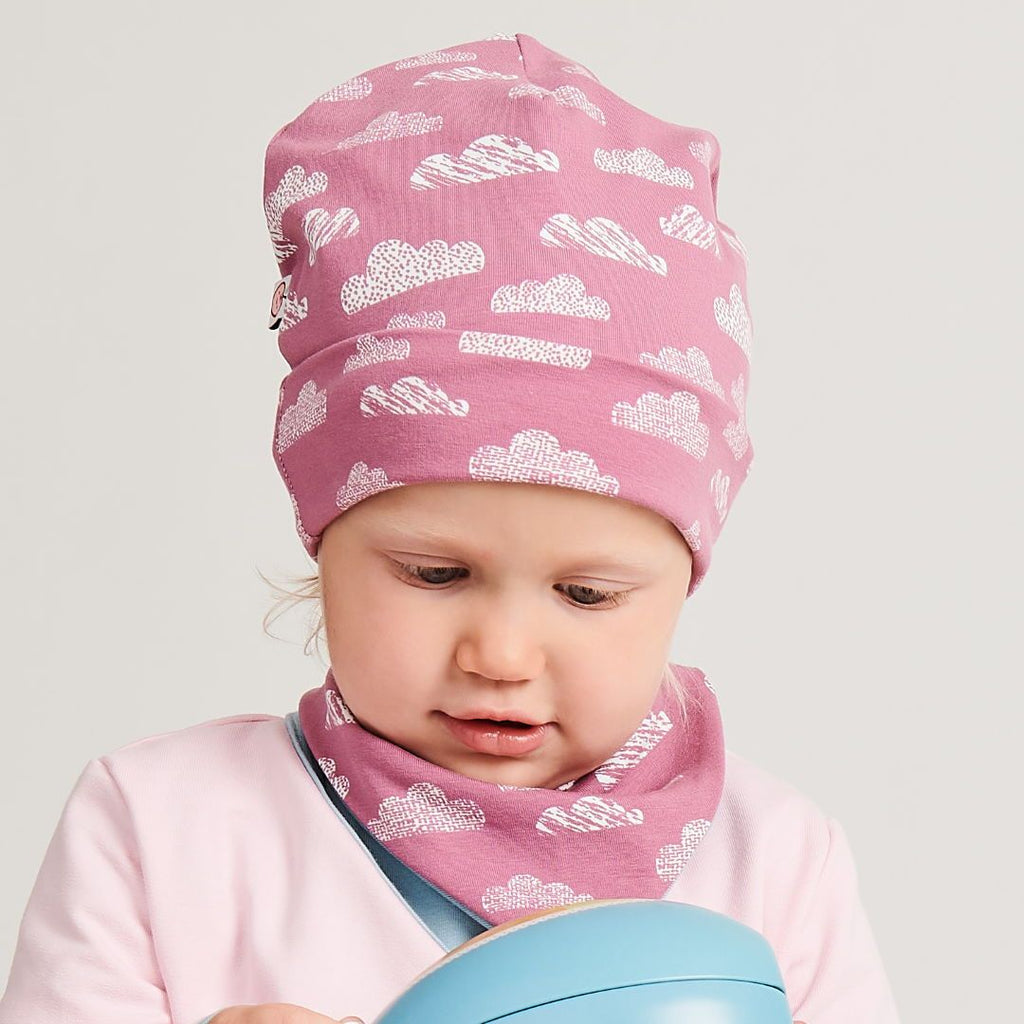 "Organic lined baby hat ""Clouds Vintage Rose"" made from 95% organic cotton and 5% elastane"
