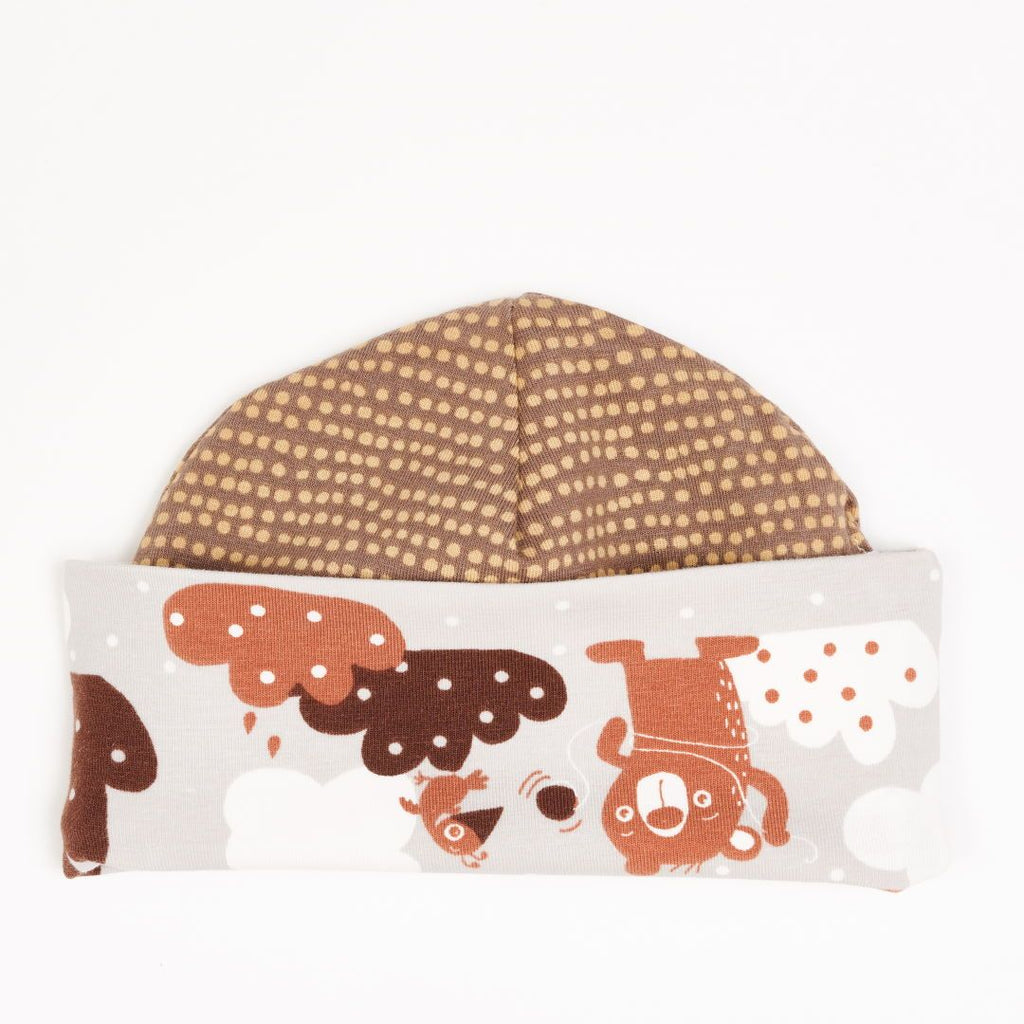 "Lined baby hat ""Yo-yo/Dotted Lines Taupe"""