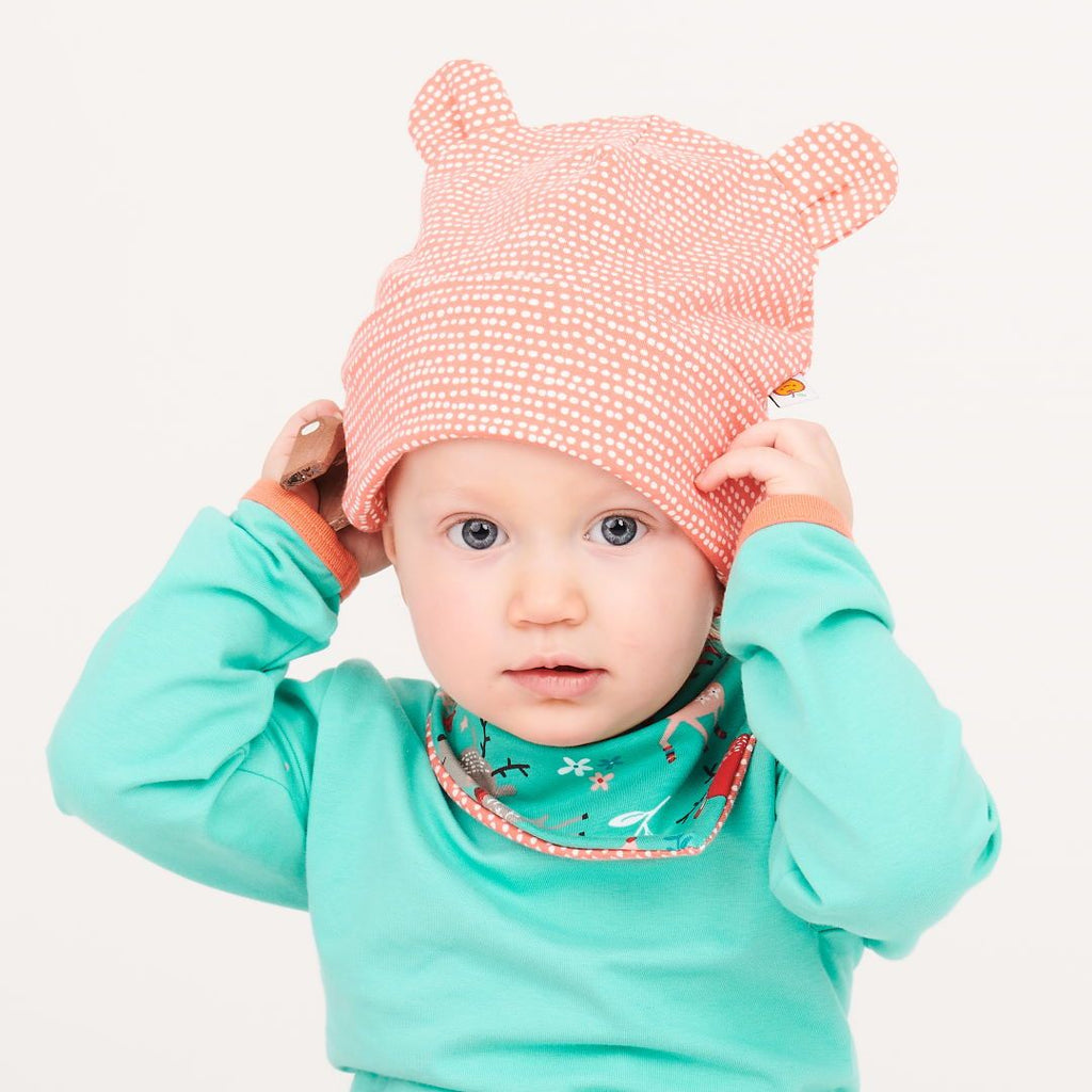 "Lined baby hat with ears ""Dotted Lines Coral"""