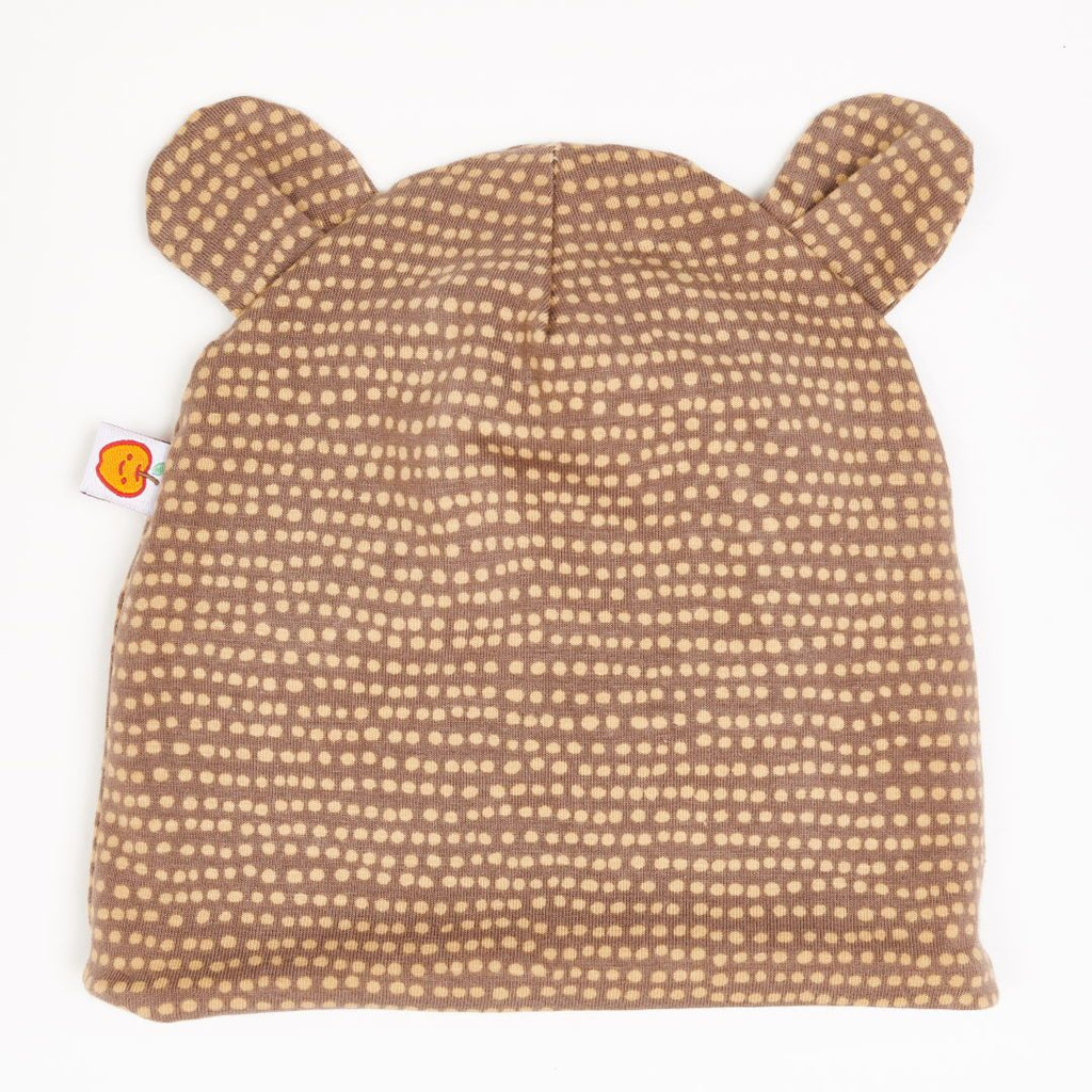 "Lined baby hat with ears ""Dotted Lines Taupe"""