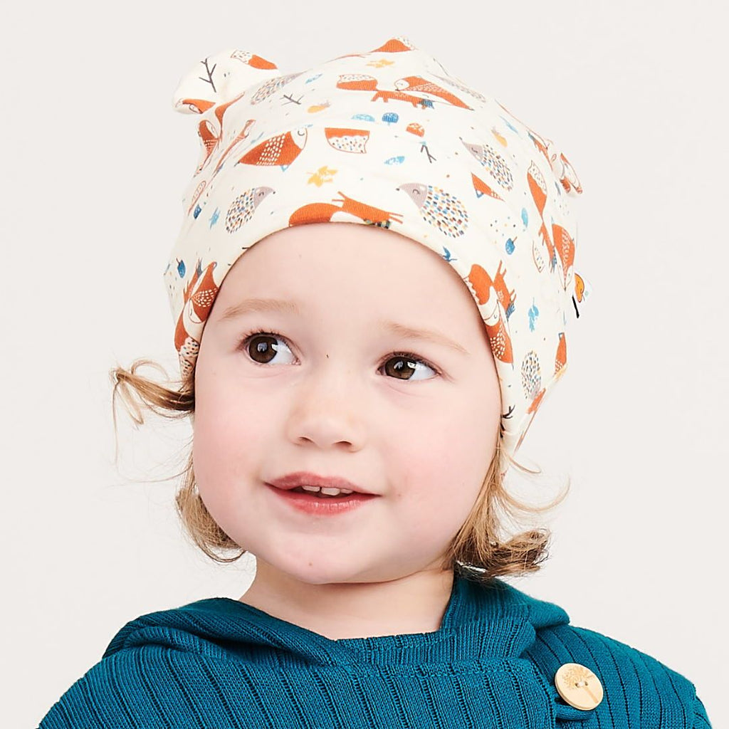 "Lined baby hat with ears ""Fox & Hedgehog"""