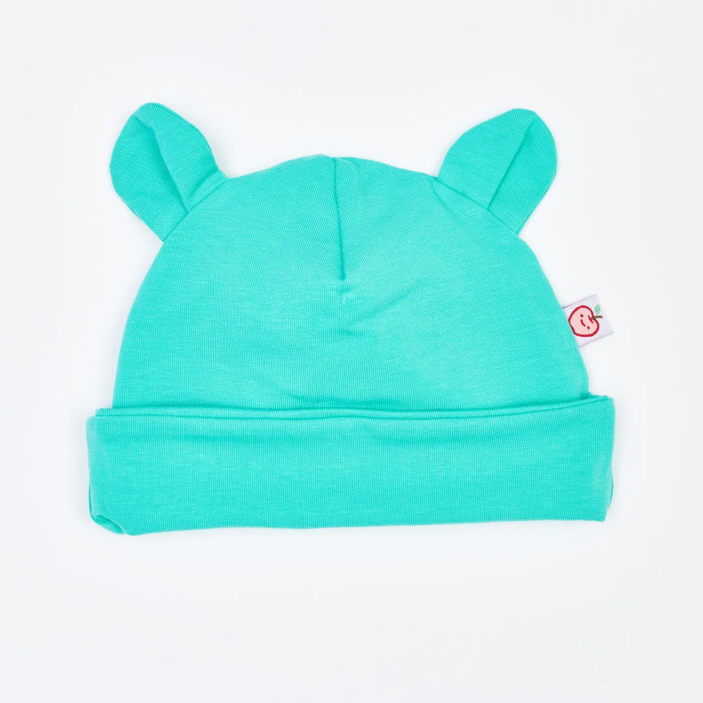 "Organic lined baby hat with bear ears ""Jersey Mint"" made from 97% organic cotton and 3% elastane"