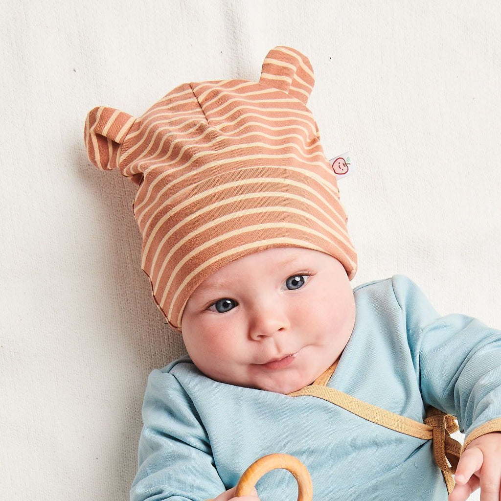 "Organic lined baby hat with bear ears ""Stripes Caramel"" made from 95% organic cotton and 5% elastane"