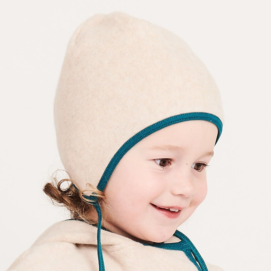 "Fleece baby hat with ear flaps ""Fleece Nude Marl/Petrol"""