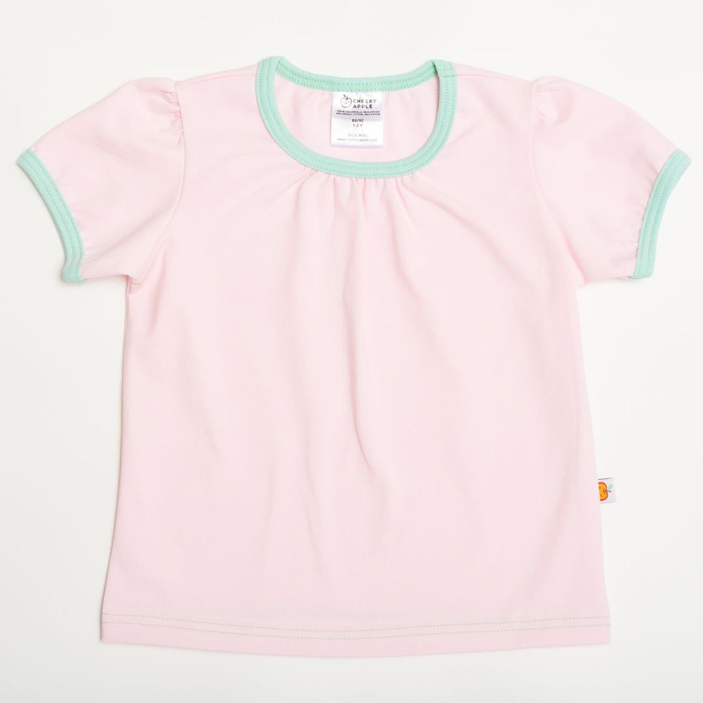 "Girls' Short-sleeve Top ""Baby Pink/Spearmint"""