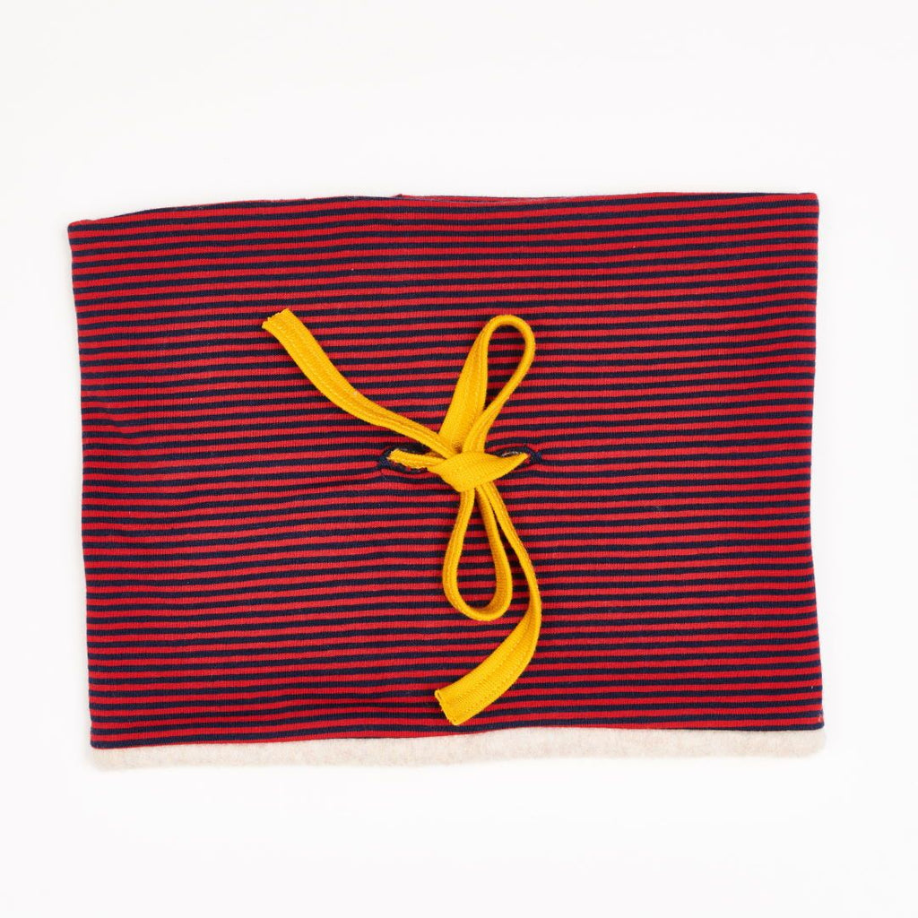 "Lined Neck warmer ""Jersey Dark blue & red Stripes/Fleece Nude Marl"""