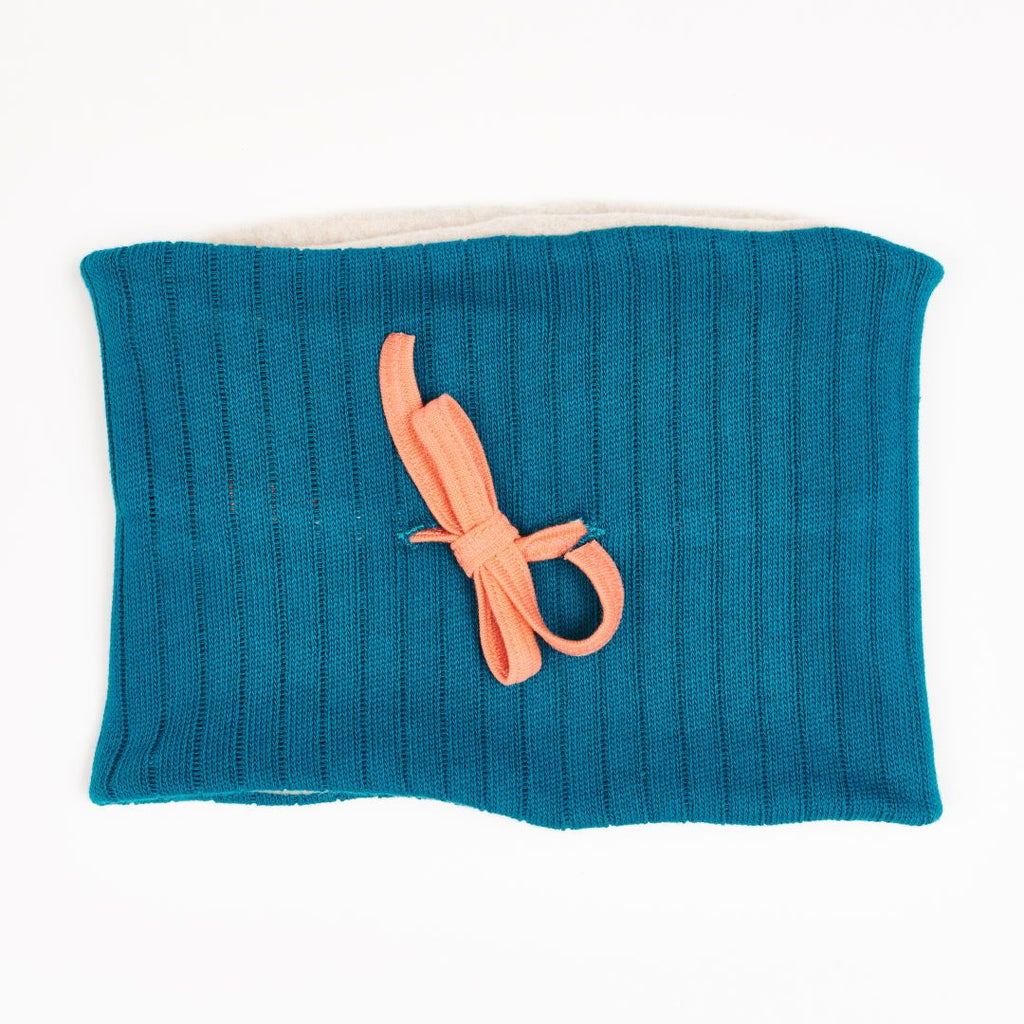 "Lined Neck warmer ""Rib knit petrol/Fleece Nude Marl"""