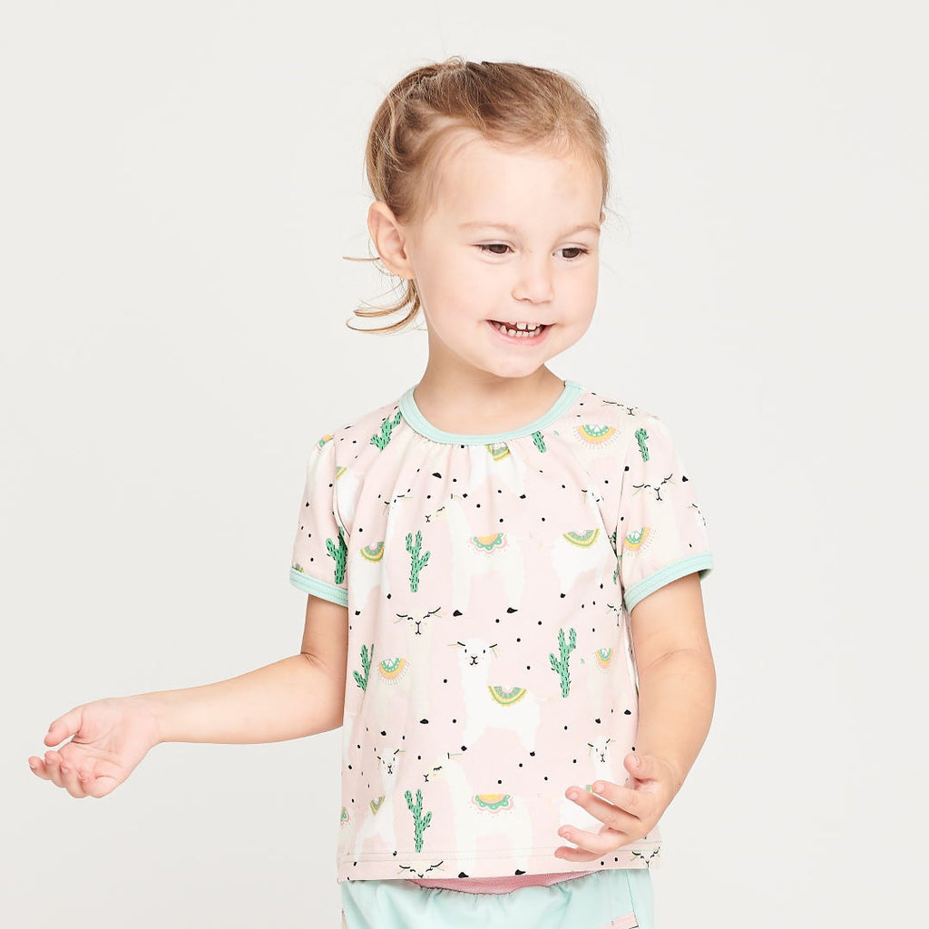 "Girls' Short-sleeve Top ""Alpakas Pink/Spearmint"""