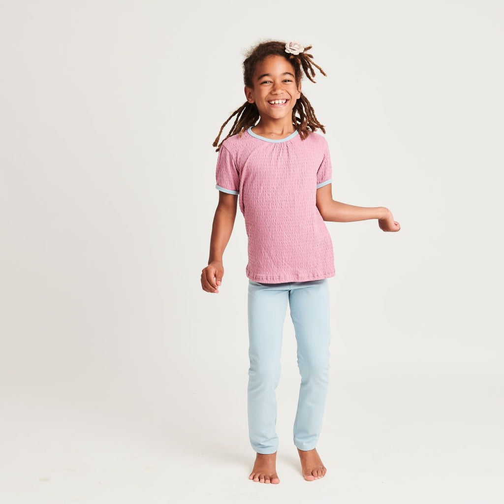 "Organic girls shortsleeve top ""Crincle Vintage Rose""  made from 95% organic cotton and 5% elastane"