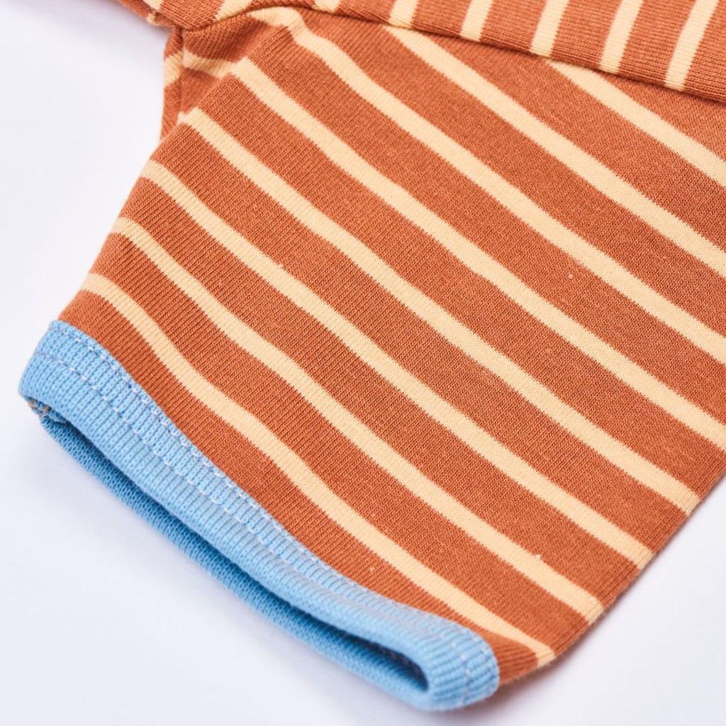 "Organic shortsleeve baby body ""Stripes Caramel"" made from 95% organic cotton and 5% elastane"