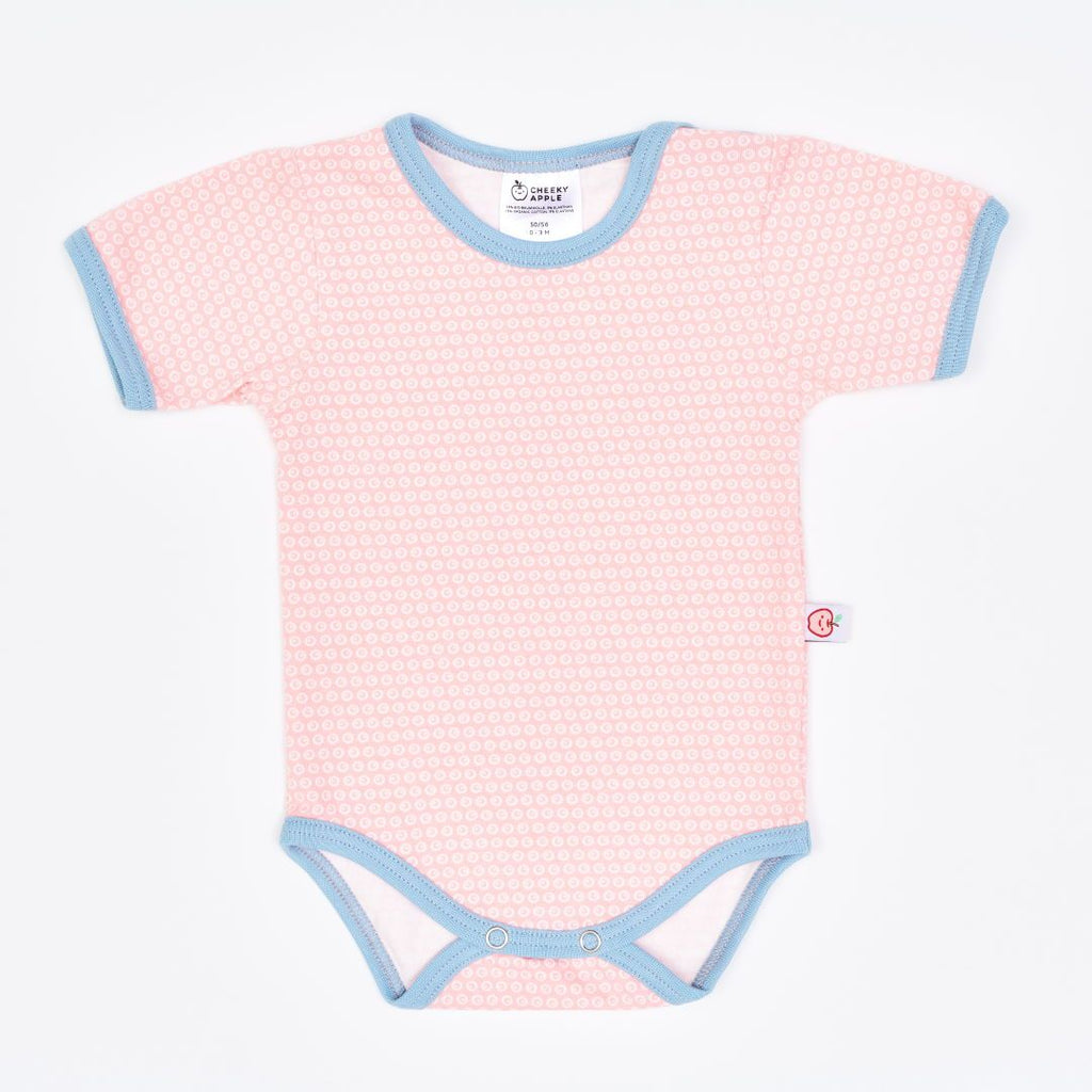 "Organic shortsleeve baby body ""Kuller Peach Rose"" made from 95% organic cotton and 5% elastane"
